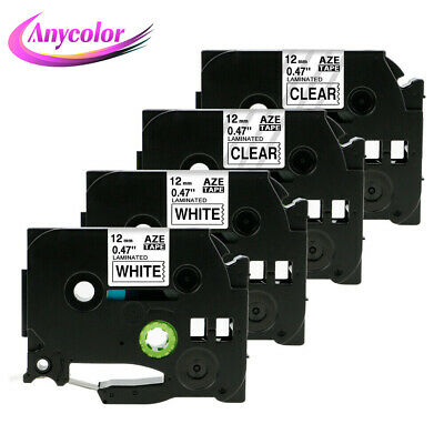 4PK Replace Brother Ptouch TZe-231 TZe-131 Laminated White/Clear Label Tape 12mm
