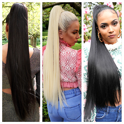 """Extra long 30"""" silky straight drawstring ponytail hairpiece Black Blonde Brown"""