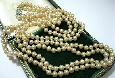 VINTAGE Beautiful Art Deco 2 Row Pearl Marcasite Knotted Bead LONG NECKLACE