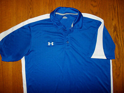 Under Armour Short Sleeve Royal Blue Polo Shirt Mens Large Excellent Condition