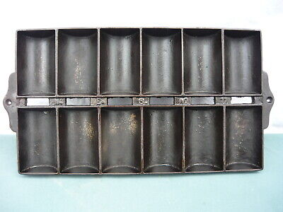 Vintage Cast Iron New England Style French Roll Pan # 11 Twelve Cup