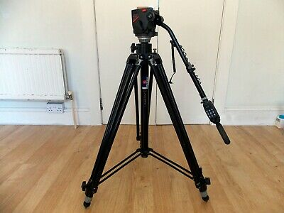 MANFROTTO 028B Camera Tripod Black with Manfrotto 503 Camera Head Mount USED