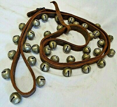 """36 Old ANTIQUE CHRISTMAS SLEIGH BELLS Leather Strap BEAUTIFUL SOUND Size #0 1"""""""