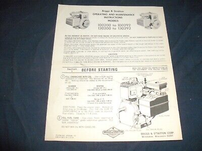 Briggs & Stratton Operating and Maintenance Instructions Models 100200 to 100292