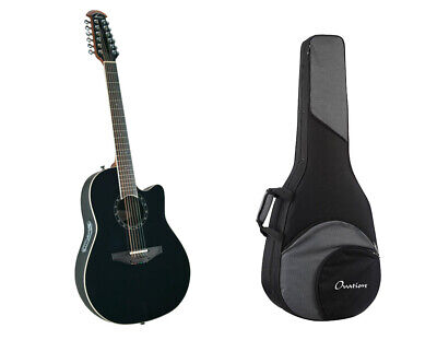 Ovation AX Acoustic-Electric 12-String Guitar - Black+ Gig Bag