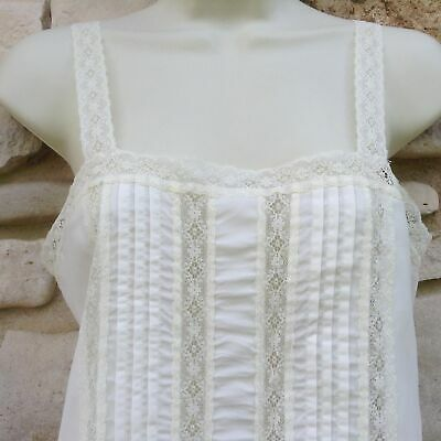 Deena Camisole Top Sz 36 Ivory Lace Tucks Nylon Vintage Made in USA