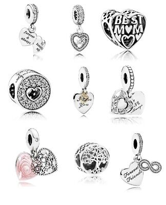 New Pandora Silver Love Family Roots Friends Mum Forever Anniversary Charms S925