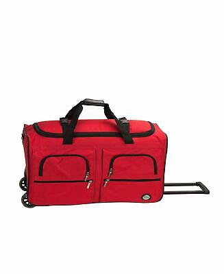 36 Rolling Wheeled Tote Duffle Bag Luggage Travel Duffle Suitcase Red  New