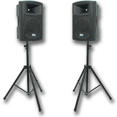 "Pair POWERED 12"" SEISMIC AUDIO PA/DJ SPEAKERS & Stands"