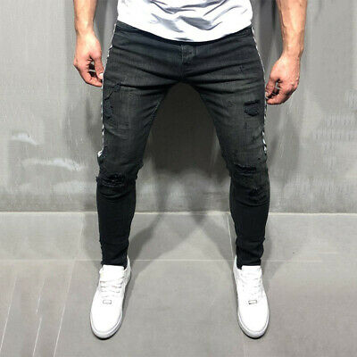 Men Skinny Stretchy Jeans Distressed Ripped Frayed Denim Pants Hot Trousers Size