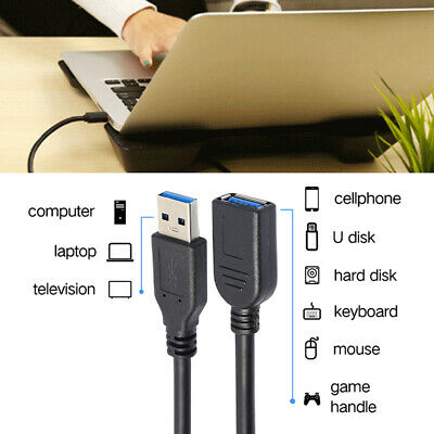 USB3.0 Male To Female USB Extension Cable High Speed Data Sync Cord Useful New