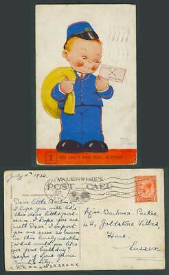 MABEL LUCIE ATTWELL 1932 Old Postcard Postman Boy This One's For U, Alright 2030