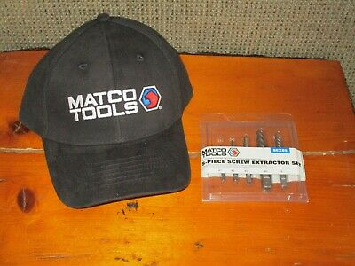 MATCO TOOLS 5 Piece Screw Extractor Set & Black Hat Cap NEW