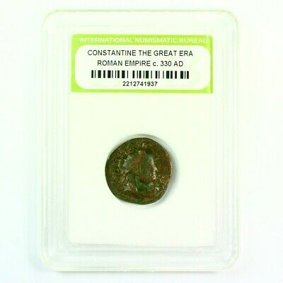 Slabbed Ancient Roman Constantine the Great Coin c330 AD Exact Coin Shown rm4411
