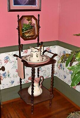 1890's Antique/Vtg Country Oak Twist Wash Basin Two Bowls Two Pitchers And Stand