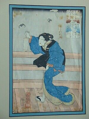 ANTIQUE JAPANESE WOODBLOCK OBAN PRINT WOMAN HOLDING LANTERN w BATS IN BACKGROUND
