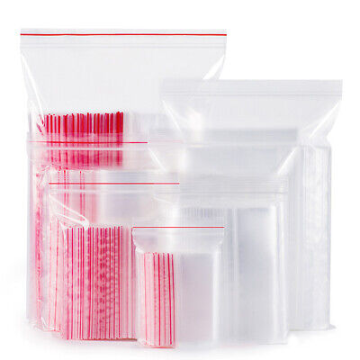 100Pcs Resealable Zip Lock Bags Self Seal Clear Plastic Ziplock Bag Storage Acc