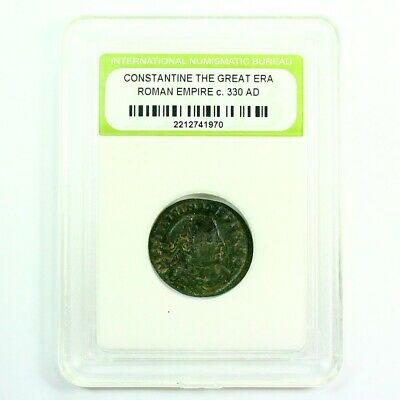 Slabbed Ancient Roman Constantine the Great Coin c330 AD Exact Coin Shown rm4357