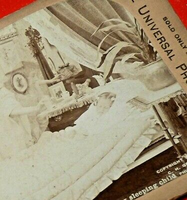 Ghost Angel Mother Girl Sleeping Scary Spooky STEREOSCOPIC Antique Stereoview