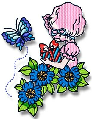 SUNBONNET AND FLOWERS 10 MACHINE EMBROIDERY DESIGNS CD or USB