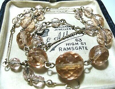 "VINTAGE Antique ART DECO 1930s Pink GLASS Crystal Bead Jewellery 16.75"" NECKLACE"