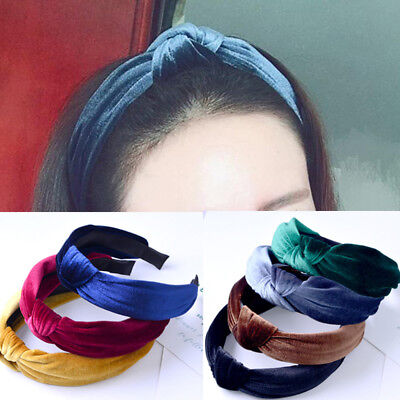 Korean Sweet Girls Bow Hair Band Boho Pleuche Wide Knot Headband Accessories