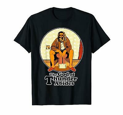 The God Of Thunder Abides Thor Beer Belly Avengers Funny Black T-Shirt S-6XL