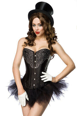 Corset Satin with Rhinestones in BLACK
