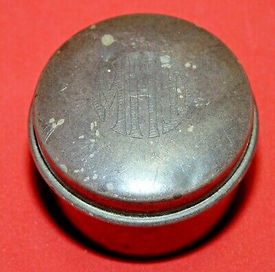 """Vtg Antique old Sterling Silver Round Pill/Snuff Box Stamped """"STERLING"""" 1110  b2"""