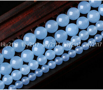 """Beauty 10/12mm Natural Blue Chalcedony Round Gemstone Loose Beads 15"""" AAA"""