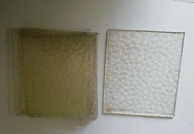 7 x pieces of old glass clear patterned spares/repair/craft 135mm x 157mm