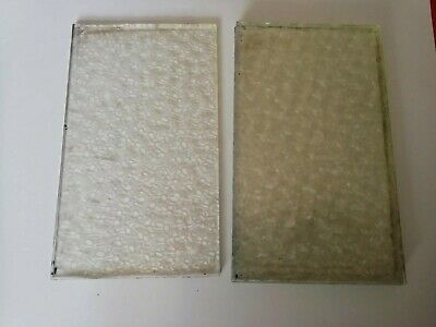 4 x pieces of old glass clear patterned spares/repair/craft 93mm x 157mm