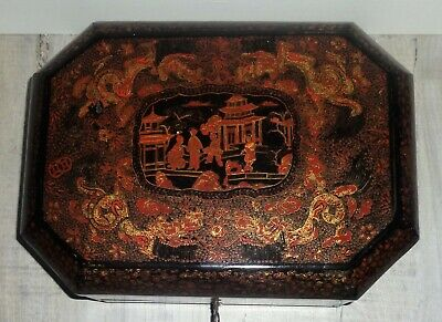 GEORGIAN CHINESE BLACK LACQUERED SEWING WORK BOX, STUNNING DECORATION, c1830