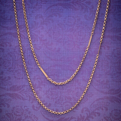 Antique Victorian Long Guard Chain 18ct Gold Cased Silver Circa 1900