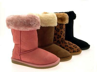 Luxury Girls Faux Fur Lined Boots Mid Calf Ankle Faux Sheepskin Winter Boots