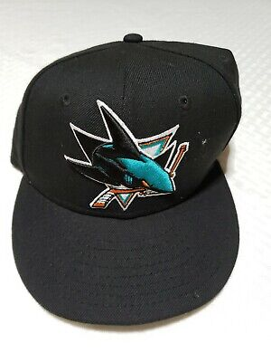 online store 41ac9 e286a San Jose Sharks SJ NHL Authentic New Era 59FIFTY Fitted Cap 5950 Hat Black  Sz 7