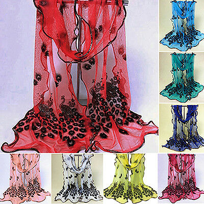 New Women Peacock Flower Embroidered Scarf Long Wrap Shawl Stole Pashmina Pretty