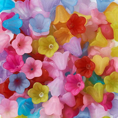 100pcs Mixed Color Frosted Flower Acrylic Beads Craft DIY Jewelry Making 14x10mm