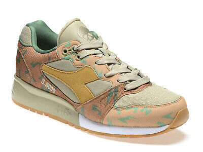152dd3e8 DIADORA MEN'S TRAINERS shoes in honey leather and beige fabric Size UK 8 -  EU 42