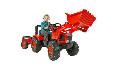 Kubota M135Gx Kids Ride On Pedal Tractor With Loader & Trailer