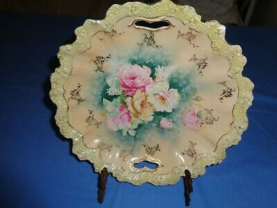"""Antique RS Prussia Floral Porcelain Bowl Roses 11"""" wide, gold accents, beautiful"""