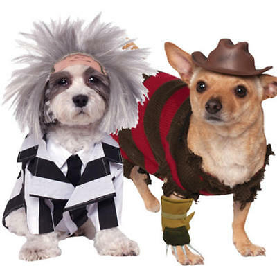Halloween Dog Fancy Dress Beetlejuice Freddy Kruger Pet Puppy Movie Costumes New