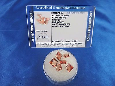 Natural Orange Red Andesine Lot 6.50 Cts Certified Appraisal $400 AGI AN09