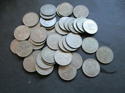 40 x HALF CROWN COINS £5, BULK COLLECTION, GEORGE VI & ELIZABETH II 1947 ONWARDS