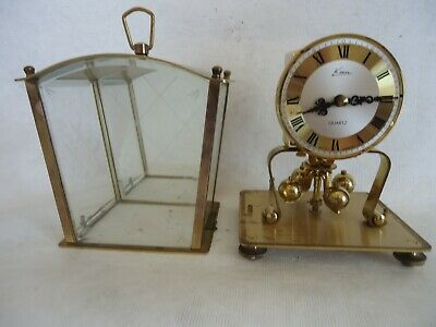 Vintage Kern Brass Glass Quartz Anniversery Clock. Spares Or Repair