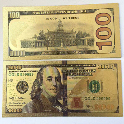 GOLD FOIL 10PCS Banknotes Bill US$100 Play 24K Paper Money