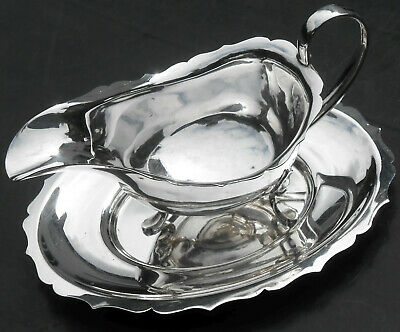 Manoah Rhodes - Vintage Silver Plated Gravy / Sauce Boat & Stand