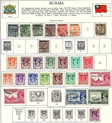 Burma 1937 to 1954, collection of 61 on 2 illustrated album pages.