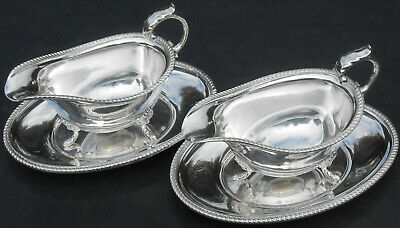 Pair Gravy / Sauce Boats & Stands - Silver Plated - Vintage Unett Plate