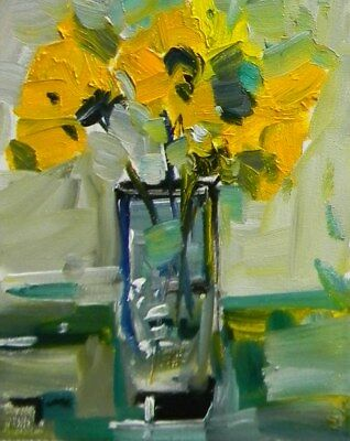 JOSE TRUJILLO Original OIL PAINTING MODERN Collectible Flowers Expressionist COA